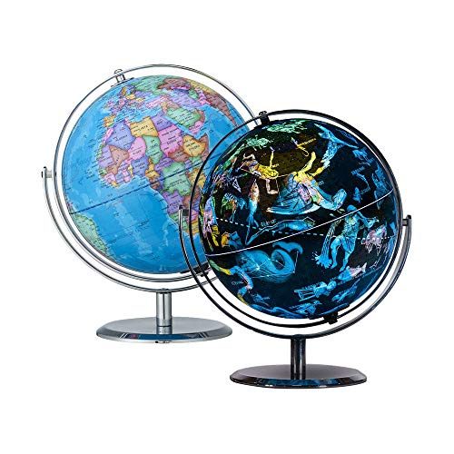 9 Inch Illuminated Constellation World Globe - 2 in 1 Interactive World Globe with Stand, Built-in LED Light, USB Night View Stars & Constellation. Home Office Décor, Ideal Educational Learning Toy