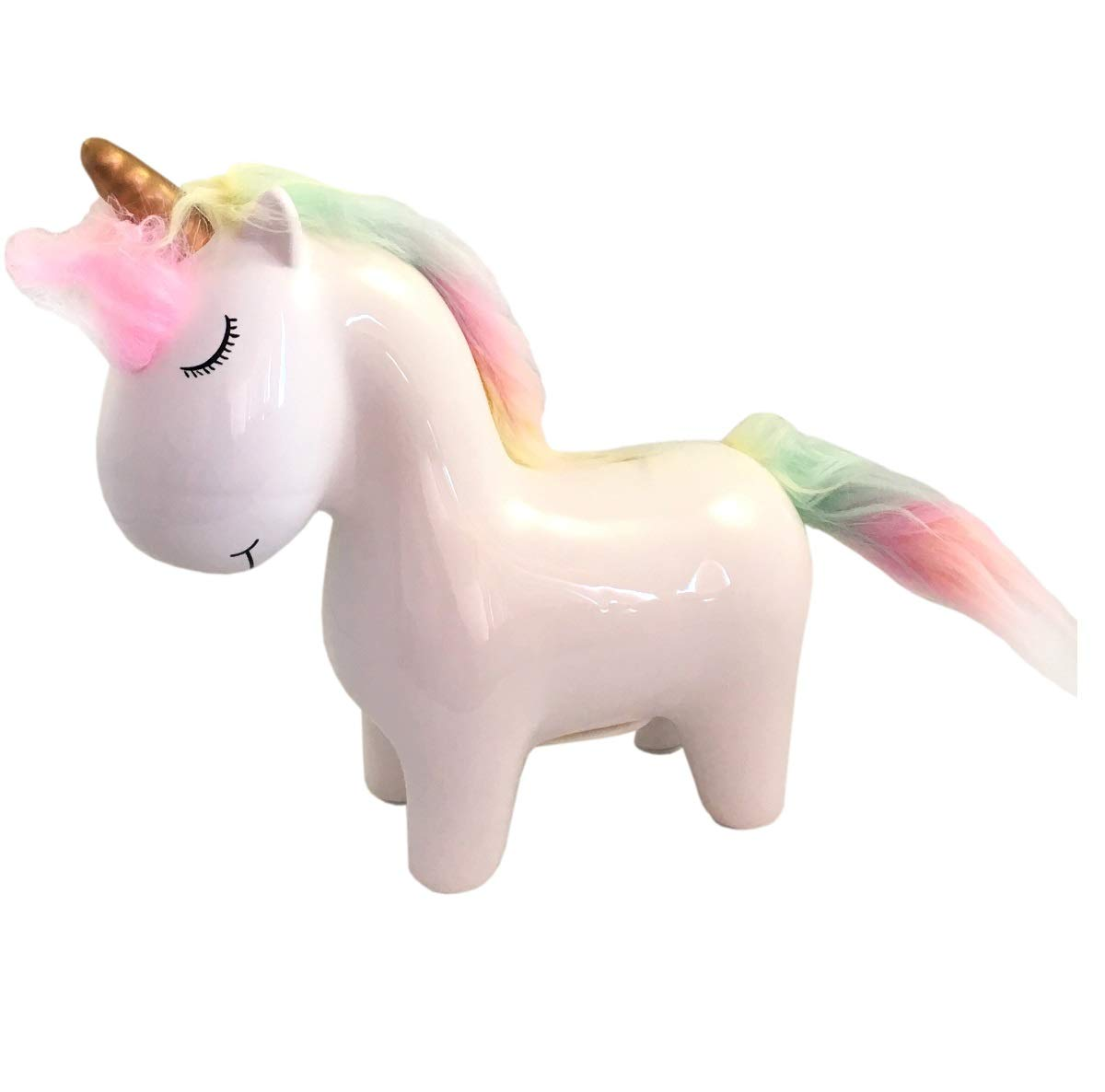 New Pink Unicorn Horse with Rainbow Mane /& Tail Piggy Bank Coin Money Holder