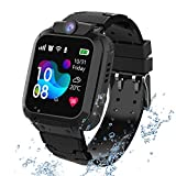 kids Smartwatch Phone per Bambini Impermeabile, Orologio Smart Phone LBS Anti-perso con Chat Vocale, Sveglia SOS per il Gioco di Matematica Studente Smart Watch, Regalo Ragazzo e Ragazza (Nero)