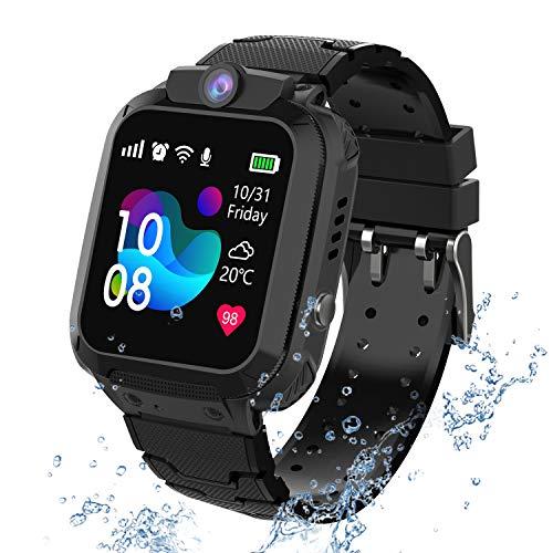 kids Smartwatch Phone per Bambini Impermeabile, Orologio Smart Phone LBS Anti-perso con Chat Vocale, Sveglia SOS per il Gioco di Matematica Studente Smart Watch, Regalo Ragazzo e Ragazza (Nero)