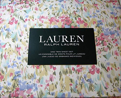 Lauren 3 Piece Twin Size Watercolor Abstract Floral Sheet Set 100% Cotton Multi Color