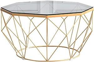 Semplice tavolino in Vetro temperato/tavolino da Salotto, 8 Lati Esterni Tavolo da Pranzo Piccolo Balcone Trasparente, Oro Nero Opzionale (60 × 60 × 45 cm)