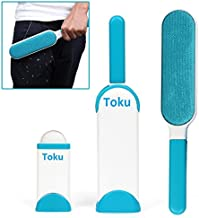 Toku Pet Fur and Lint Remover with Self-Cleaning Base Double-Sided Brush Removes Dog and Cat Hair From Clothes and Furniture (White, 20x10x10 cm)