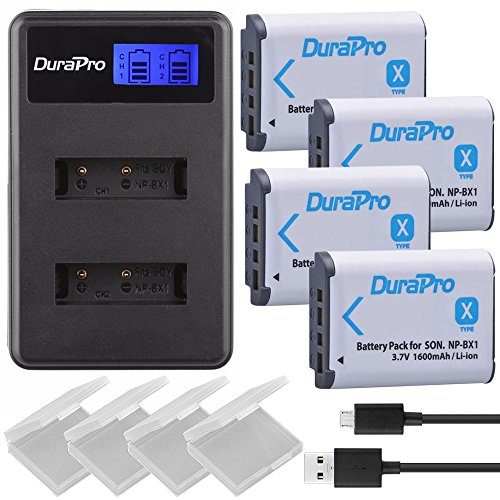 Durapro NP-BX1 NPBX1 NP BX1 Akku + LCD Dual USB Ladegerät für Sony NP-BX1 Akku Sony DSC-RX100 RX100 II DSC-WX500 HX300 HX400V WX300 WX350 HDR AS100v AS200V AS15 AS30V AS300 M3 M2 HX60 MV1 Camcorders