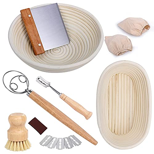 TNELTUEB Bread Proofing Basket, Round & Oval Proofing Baskets for sourdough bread Natural Rattan Bread Proofing Basket with Tools - Dough Whisk,Scraper,Bread Lame,Cloth Liner and Brush Gift for Baker