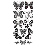 Supperb Temporary Tattoos - Black & White Butterflies
