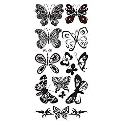 1a07371c6f660 Get black and white temporary butterfly tattoos here. Girls often put their  tattoos on their wrists, especially when they only want a small design.