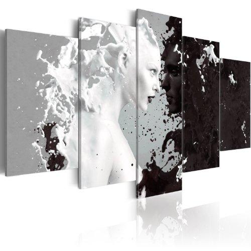 murando Quadro Coppia Astratto Amore 200x100 cm 5 pezzi Stampa su tela in TNT XXL Immagini moderni Murale Fotografia Grafica Decorazione da parete nero bianco 020203-4