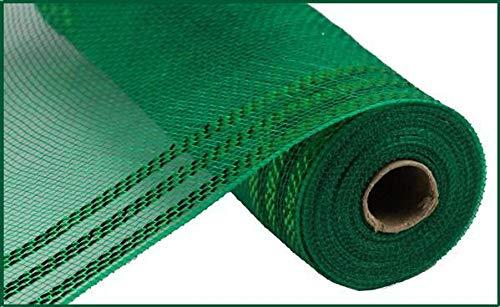 "Border Stripe Metallic Poly Deco Mesh, 10.5"" x 10 Yards (Emerald, Emerald Foil)"