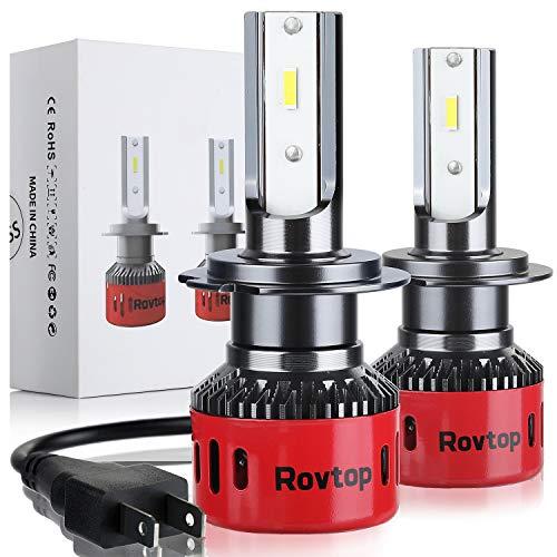 Rovtop Bombilla H7 Halógenas HID LED - 2 Pcs Faros Delanteros para Coche Xenon Blancas, Kit de Conversión 10000LM, CSP, Impermeable IP68, 60W, 9V-36V Bombillas Halógenas HID para Coche o Moto