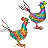 Kircust Garden Sculpture & Statues, Metal Rooster Decor with Solar Lights, Colorful Chicken Yard Art Lawn Ornaments, Animal Garden Art Sculptures for Outdoor Patio Backyard, Set of 2