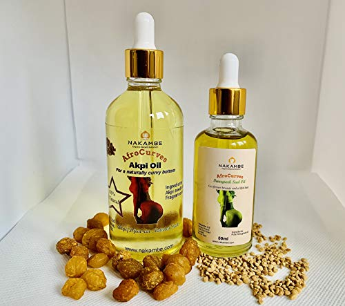 Akpi Oil for Butt Enlargement 100ml+Fenugreek Oil for Breast Firming 50ml Bundle Active
