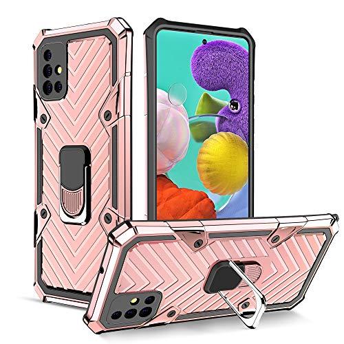 UCASE Funda Compatible para Samsung Galaxy A51(4G) Carcasa Case Soporte de Anillo Metal PC Rígido+TPU Soft Anti-caída Dactilares Magnética Cover[New Upgrade] Oro Rosa