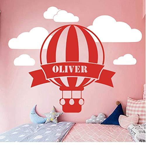 Hete lucht ballon wolken Sky muur Decal Kids kamer slaapkamer gepersonaliseerde naam ballon wolk ruimte muur Sticker Vinyl Art 70 * 56 cm