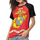 SAIKOUNOYA The United States Marine Corps Printed Tshirts Baseball T-Shirt Casual Short Sleeves Crewneck Tshirts for Women