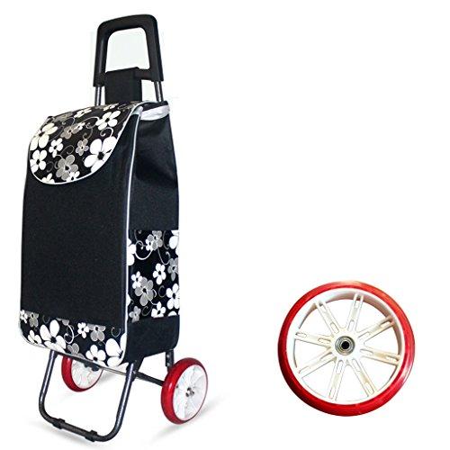 Carretilla plegable de la carretilla de las compras de la carretilla de las compras de la carretilla de la capacidad grande ligera con 2 ruedas (Color : Black)