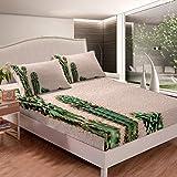 Loussiesd Cactus Juego de cama para niñas y niños, bohemio, suculentas, juego de sábanas, decoración botánica, sábana bajera ajustable, color verde, para cama de tamaño doble, 3 unidades