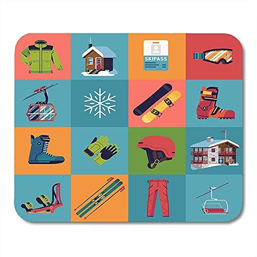 QDAS Muispads Cooler wintersport bij het skiën en snowboarden met boots Goggles Chairlift Lodge muismat voor notebooks