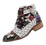 NPRADLA Femmes Chaussures Encre Peinture Motif Fleur Motif Vache en Cuir Épissage À Lacets Couture Bottes À La Cheville