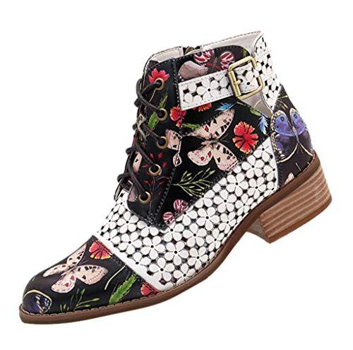 LILIHOT Damen Stiefeletten Tinte Malerei Blumenmuster Ankle Boots Kuh Leder SpleißEn Winterstiefel Lace-Up Stitching Ankle Boots Kurzschaft Stiefel SchnüRstiefeletten
