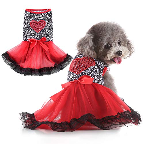 EMUST Small Dog Clothes, Luxurious Small Medium Princess Skirt, Bowknot Dog Tutu Dress for Beach Holiday Summer,Red/S
