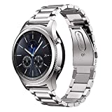 MroTech Bracelet Montre 22 mm Compatible pour Samsung Gear S3 Frontier/Classic, Galaxy Watch 46mm,Amazfit Stratos,Ticwatch Pro,Huawei Watch 2 Classic,Fossil 22mm Bande de Remplacement (Acier Argent)