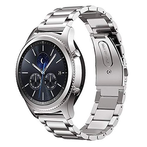 MroTech Metallarmband Ersatz für Gear S3 Armband 22mm Edelstahl Uhrenarmband Kompatibel für Samsung Gear S3 Frontie Classic, Galaxy Watch 46mm, Pebble Time, Moto 360 46mm, LG G Watch 22 mm