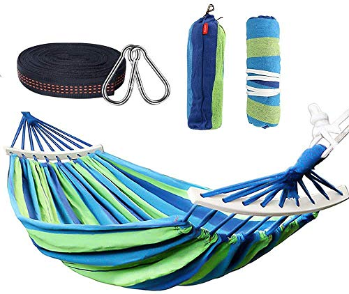Rusee Double 2 Person Cotton Fabric Canvas Travel Hammocks 450lbs Ultralight Camping Hammock Portable Beach Swing Bed with Hardwood Spreader Bar Tree Hanging Suspended Outdoor Indoor Bed (Blue)