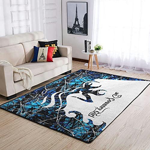 Blue Deer Love Country Girl Tapis design rectangulaire pour salon Blanc 91 x 152 cm