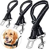 2 Cinturón de Seguridad de Coche para Perros, Cinturon para Perros Coche, Arneses de Seguridad del Cinturón de Nylon Ajustable con Amortiguador Elástico Antichoque