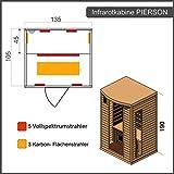 Dewello Infrarotkabine Infrarotsauna PIERSON 135cm x 105cm inkl. Vollspektrumstrahler, Bodenstrahler und Zubehör - 6