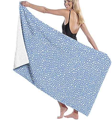Stars - Toallas de Playa de Color Azul Medio Toallas de Piscina de SPA súper absorbentes de Secado rápido para Nadar y al Aire Libre 80x130cm