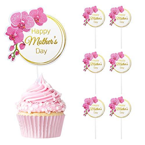 Decoración para magdalenas con mariposas, decoración para tartas personalizada, para el día de la madre, cumpleaños, fiesta de cumpleaños, fiesta de boda, fiesta (círculo rojo-6 unidades)