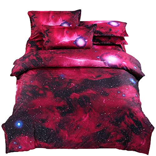 Suncloris,3D Red Nebula,Queen Size, 4pc Bedding Sets,1Duvet Cover,1Flat/Fitted Sheet,2 Pillowcase(no Comforter inside) (Fitted Sheet)