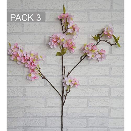 Hogar y Mas Almendro Flores Artificiales decoración jarrones Set de 3, Ramas Flores de Interior Decorativas 85 cm - Rosa Claro
