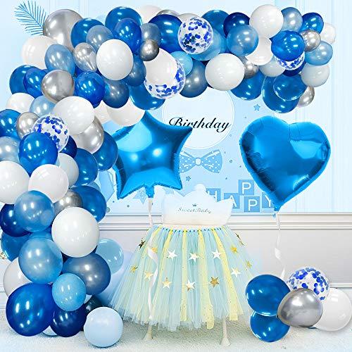 Blue-Balloon-Bogen-Girlande-Kit Weiß Silber Blau Ballon Latex Konfetti Folienballon