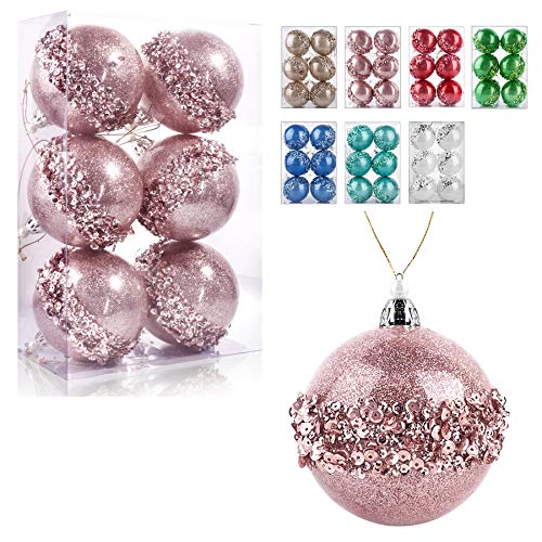 ZHANYIGY 3.15Inch Clear Ornaments Balls,6pc Set Rose Gold Christmas Ball Decorations Ornaments Perfect Party Decorations Craft Transparent Ball Gifts for Wedding Party Decor (Rose Gold)