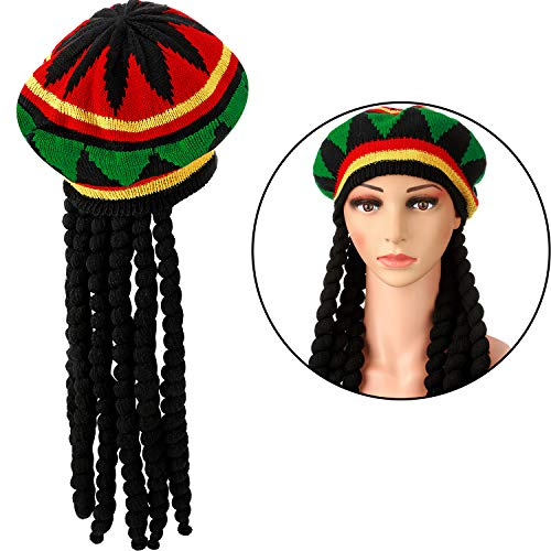 Syhood Rasta Hut Perücke Rasta Hut und Haar Rastafarian Hut Perücke Jamaika Hut Unisex, Multi Farbe, Einheitsgröße Kostüm