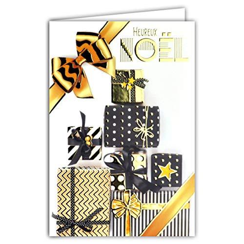 Wenskaart Kerstmis geschenken lint sterren punten strepen verpakking papier zwart en goud verguld