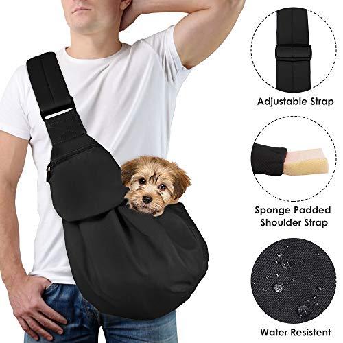 Lukovee Pet Sling, Hand Free Dog Sling Carrier Adjustable Padded Strap Tote Bag Breathable Cotton Shoulder Bag Front Pocket Safety Belt Carrying Small Dog Cat Puppy Machine Washable (New Black)