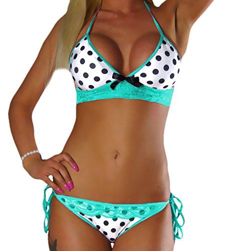 ALZORA Neckholder Damen Bikini Set in Schwarz Weiß Punkte Türkis Bänder mit Spitze Push Up Top und Hose, 20063 (M)