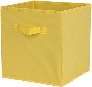 Tissu Panier Bin Boîtes De Rangement De Rangement Pliable Cubes Organisateur Avec Poignées Boîte Jaune Rangement Avec Couv...