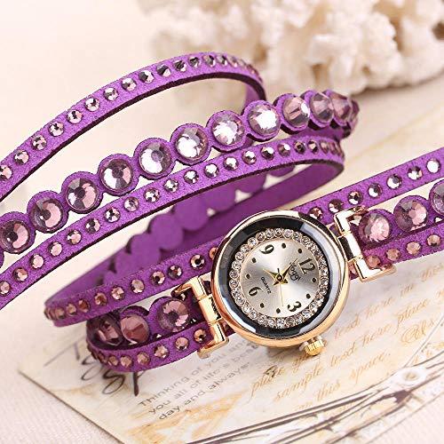 Powzz ornament Armbanduhren Die Uhr Der Frauen Es Wünschen Heiße Punknieten Die Uhr Der Frauen Es Eingewickelt In Diamanten Englisches Table @ Purple