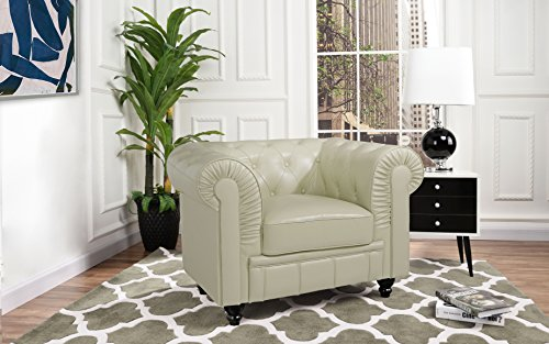 Divano Roma Classic Chesterfield Scroll Arm Tufted Leather Match Accent Chair (Beige)