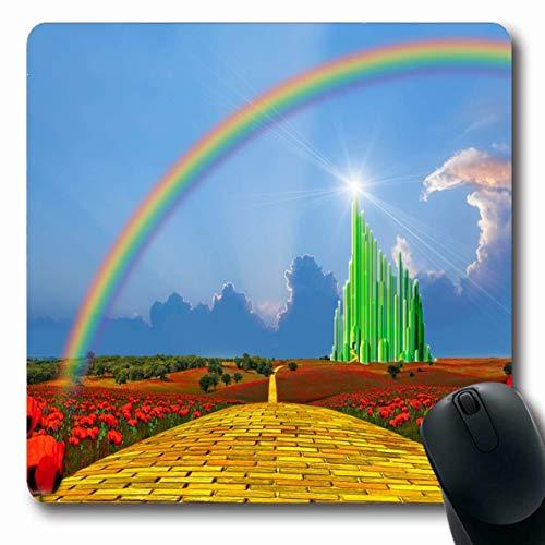 Mouse Pad Theater Mohnblumen Regenbogenwiese Gelb Blau Backstein Stadtstraße Führt In Schöne Smaragd Texturen Mousepad Rutschfest Länglich 25X30Cm Gummi Büro Computer Mausmatte La