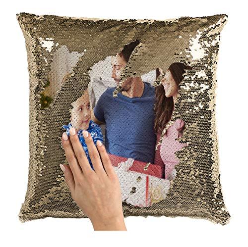 Regalo Personalizado de Acción de Gracias de Navidad Cojín de Silla de Almohada con Foto Personalizada(Almohada de una Cara con champán 40 * 40cm(15.75 * 15.75in))