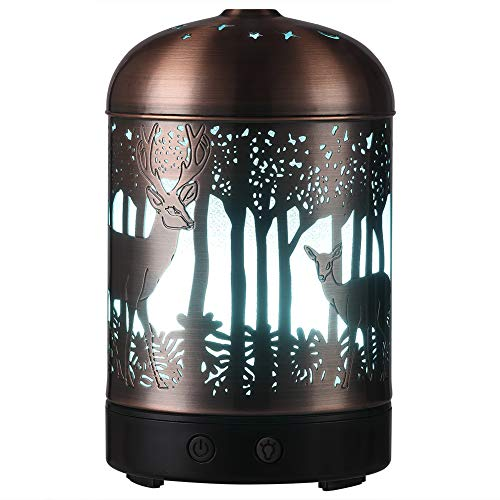 Essential Oil Diffusers -160ml Cool Mist Humidifier -7 Color LED Night Lamps -Crafts Ornaments All in 1 is the Round Rich Upgrade Whisper-Quiet Ultrasonic Metal Deer Humidifiers US 120V