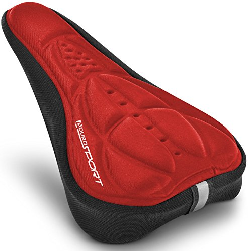 Aduro Sport Bike Seat Cushion Cover Pad with Memory Foam for Bicycle Narrow Seat Saddle, No Installation Needed, Bounce Free - Enjoy Longer Rides, Water Resistant (Red)
