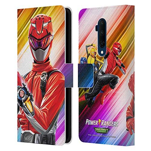Head Case Designs sous Licence Officielle Power Rangers Beast Morphers Ranger Rouge Personnages Coque en Cuir à Portefeuille Compatible avec OnePlus 7T Pro