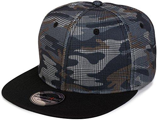 styleBREAKER Snapback Cap mit Camouflage Print, Baseball Cap, verstellbar, Unisex 04023045, Farbe:Grau-Blau kariert
